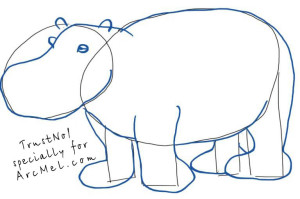 How to draw a hippopotamus step 2