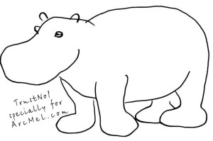 How to draw a hippopotamus step 3