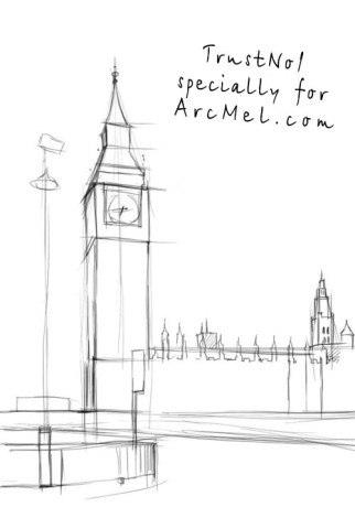 How to draw Big Ben step 2