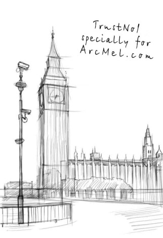 How to draw Big Ben step 3