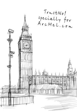 How to draw Big Ben step 4