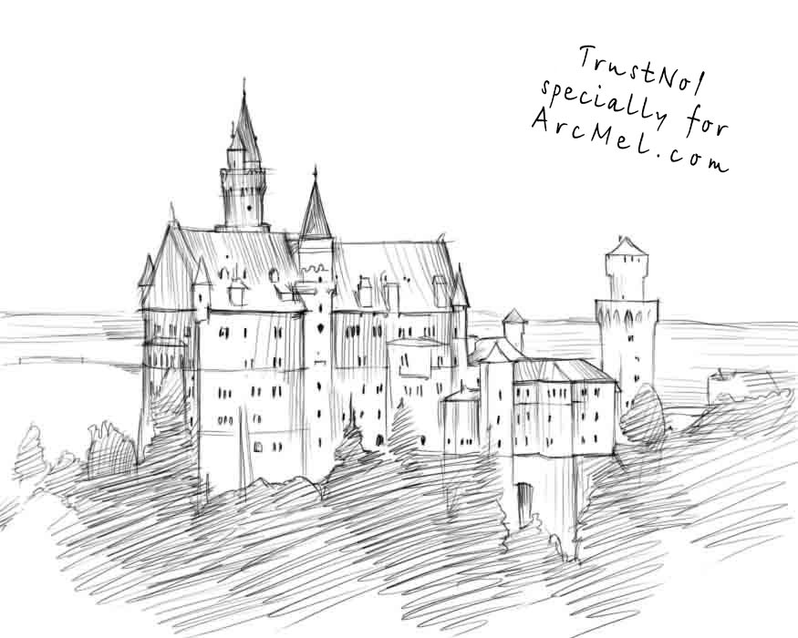 How To Draw Castle Step By Step