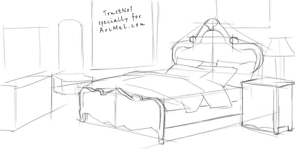how to draw a bed step by step arcmel com. Black Bedroom Furniture Sets. Home Design Ideas