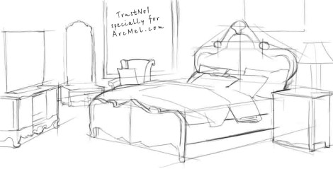 How to draw a bed step 3