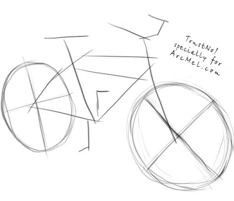 How to draw a bike step 1
