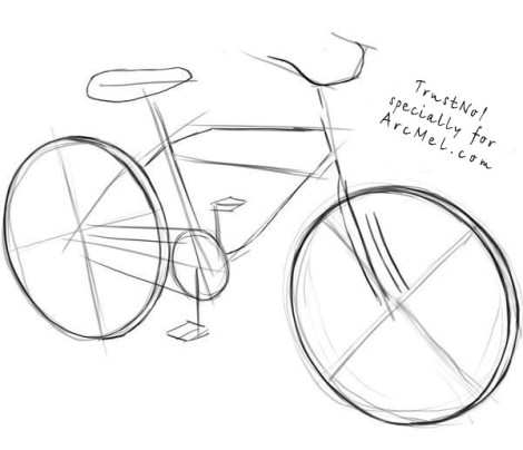 How to draw a bike step 2