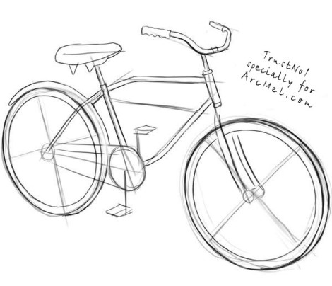 How to draw a bike step 3