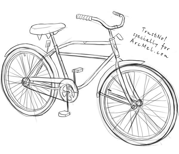 Line Drawing Bicycle : How to draw a bike step by arcmel