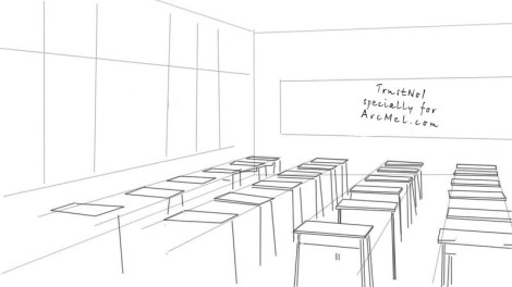 How to draw a classroom step 2