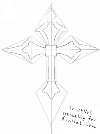 How to draw a cross step 3