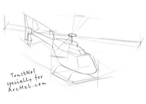 How to draw a helicopter step 2