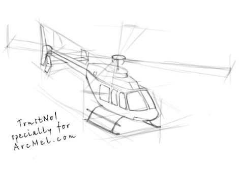 How to draw a helicopter step 3