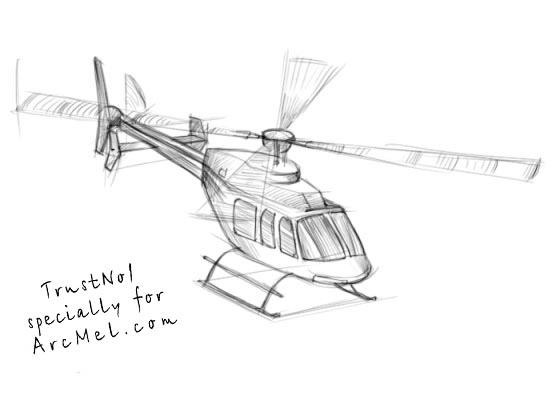 Line Drawing Helicopter : How to draw a helicopter step by arcmel