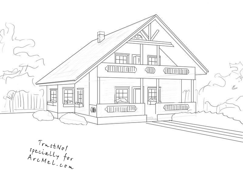 How To Draw A House Step By Step Arcmel Com