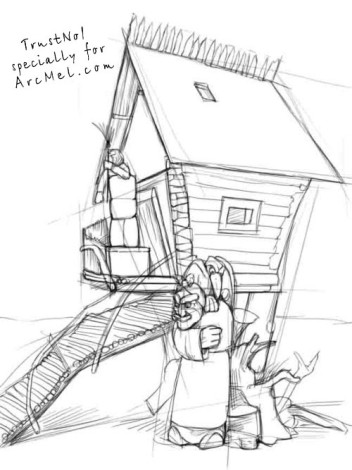 How to draw a hut on hen s legs step by step arcmel com for How to draw a house plan step by step