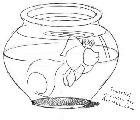How to draw an aquarium step 4