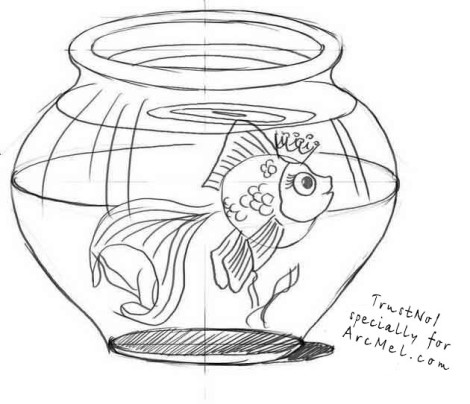 How to draw an aquarium step 5