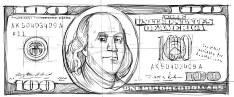 How to draw money step 4