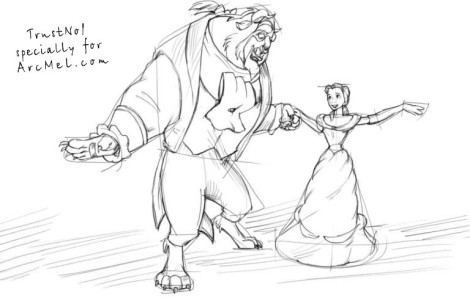 How to draw Beauty and the Beast step 3