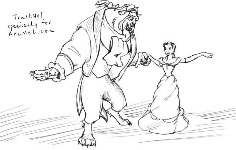 How To Draw Beauty And The Beast Step By Step Arcmel Com