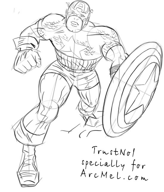 Line Art America : Pics for gt captain america head drawing