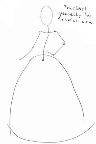 How to draw Cinderella step 1