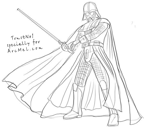 How to draw a Darth Vader from Star Wars in stages 17