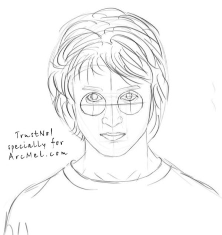 How to draw Harry Potter step 5