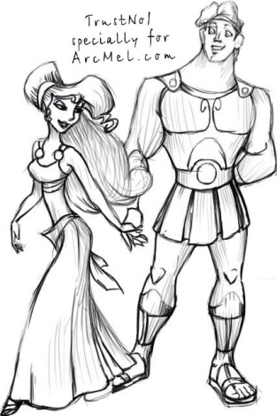 How to draw Hercules and the Gorgon step 5