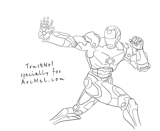 how to draw iron man step 4