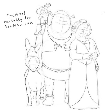 How to draw Shrek step 4