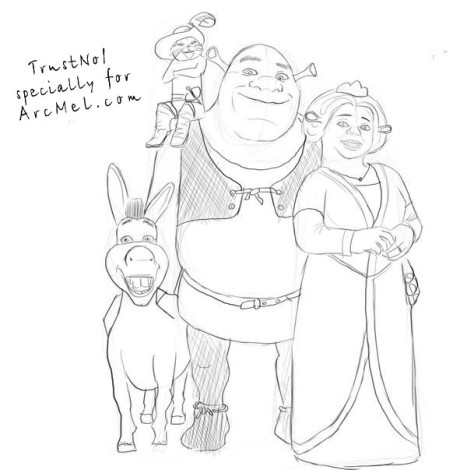 How to draw Shrek step 5