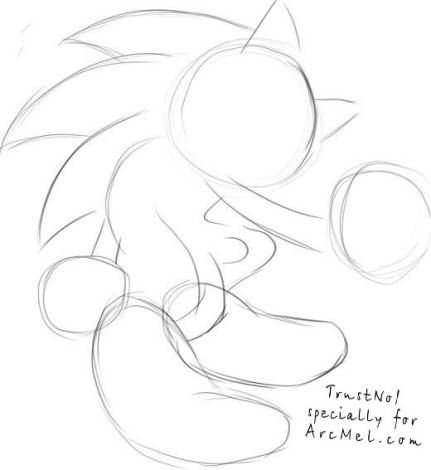 How to draw Sonic step 1