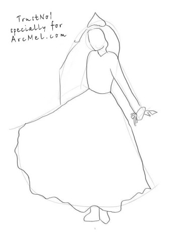 How to draw a Snow Queen step 2