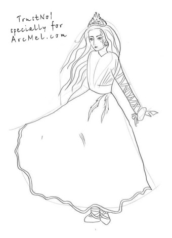 How to draw a Snow Queen step 3