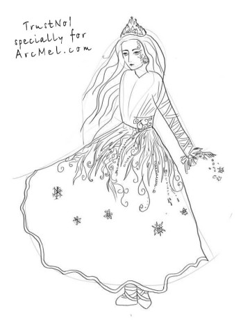 How to draw a Snow Queen step 4