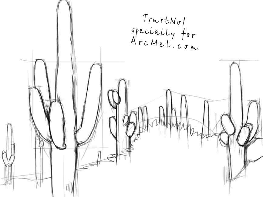Line Drawing Cactus : How to draw a cactus step by arcmel