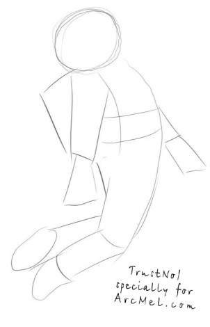 How to draw a cosmonaut step 1