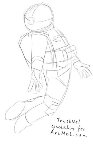 How to draw a cosmonaut step 2