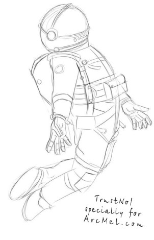 How to draw a cosmonaut step 3