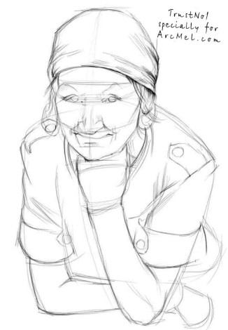 How to draw a grandma step 2