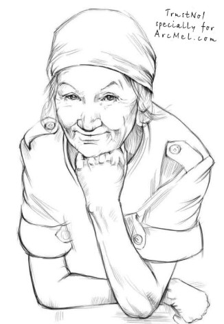 How to draw a grandma step 3