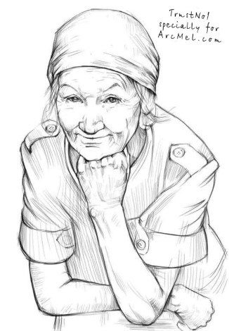 How to draw a grandma step 4