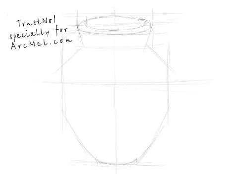 How to draw a vase step 1