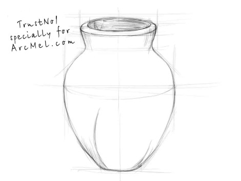 How to draw a vase step 2