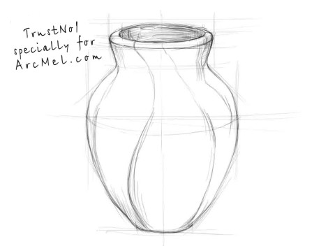 How to draw a vase step 3