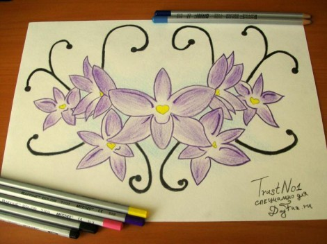 How to draw a violet step by step