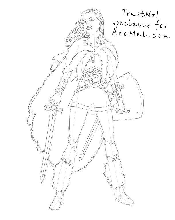 How To Draw A Warrior Step By Step Arcmel Com
