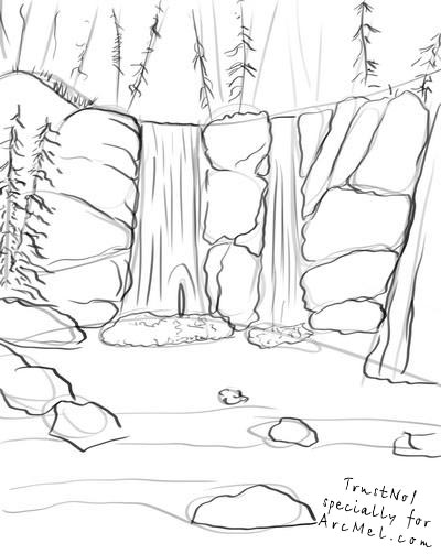 How to draw a waterfall step by step arcmel com for Waterfall coloring page
