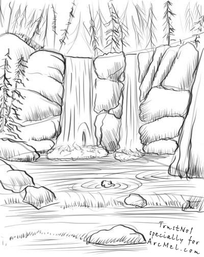 Forest Waterfall Drawing How to Draw a Waterfall Step 4